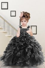 Comfortable Black Ball Gowns Straps Sleeveless Organza Floor Length Lace Up Beading and Ruffles Child Pageant Dress
