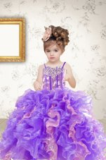 Best Selling Sleeveless Beading and Ruffles and Sequins Lace Up Girls Pageant Dresses