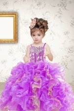 Sleeveless Beading and Ruffles and Sequins Lace Up Toddler Flower Girl Dress