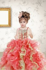 Latest Floor Length Multi-color Little Girl Pageant Gowns Organza Sleeveless Beading and Ruffles and Sequins
