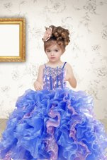 Sleeveless Beading and Ruffles and Sequins Lace Up Party Dresses