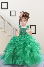 Romantic Apple Green Flower Girl Dress Military Ball and Sweet 16 and Quinceanera and For with Beading and Ruffles Straps Sleeveless Lace Up