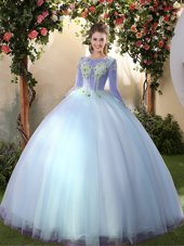 Big Puffy Light Blue Long Sleeves Floor Length Appliques Lace Up Quinceanera Dress