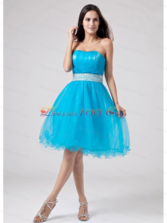 2013 teal strapless prom dress with sash and ruch with
