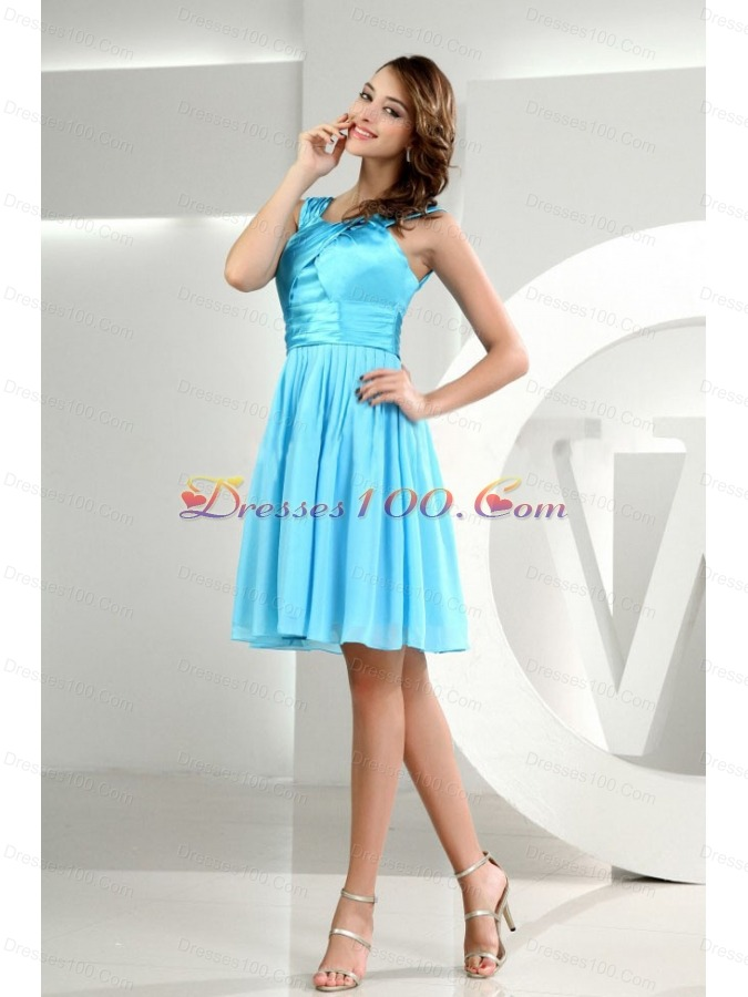 A-Line Straps Chiffon Knee-length Baby Blue Bridesmaid Dresses - US ...