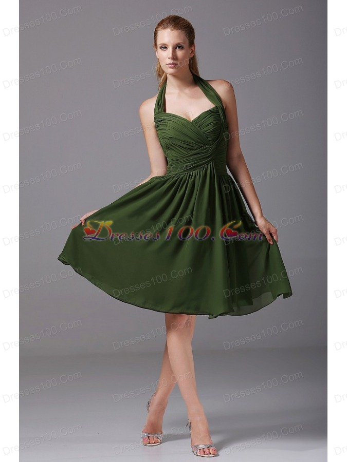 Halter ruched chiffon a line knee length olive green for Olive green wedding dresses