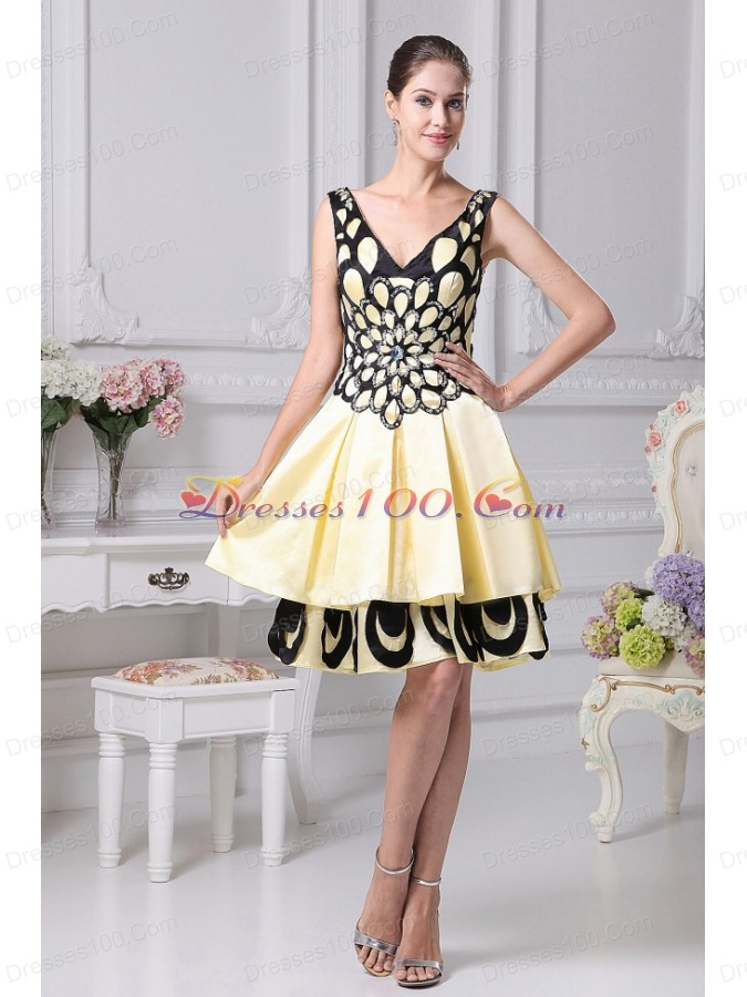 Beading Decorate Yellow A-line Prom Dress For 2013 V-neck ...