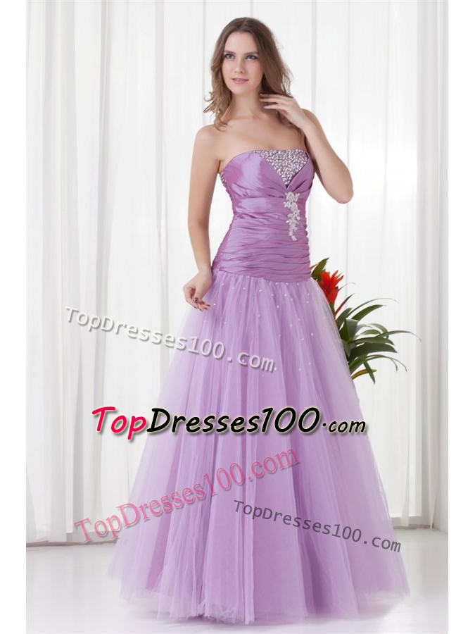 2014 aline strapless lilac beading tulle prom dress with
