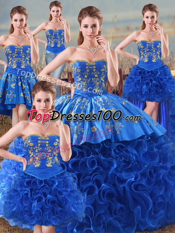 96e3f0a4ff Sleeveless Fabric With Rolling Flowers Floor Length Lace Up Vestidos de  Quinceanera in Royal Blue with Embroidery