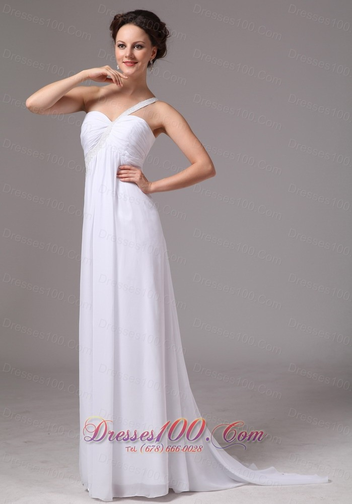 Simple one shoulder watteau train chiffon wedding dress for Wedding dresses in ga