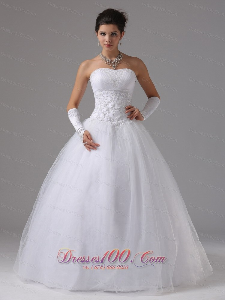 A line wedding dress with lace decorate waist and beaded for Wedding dress for large bust