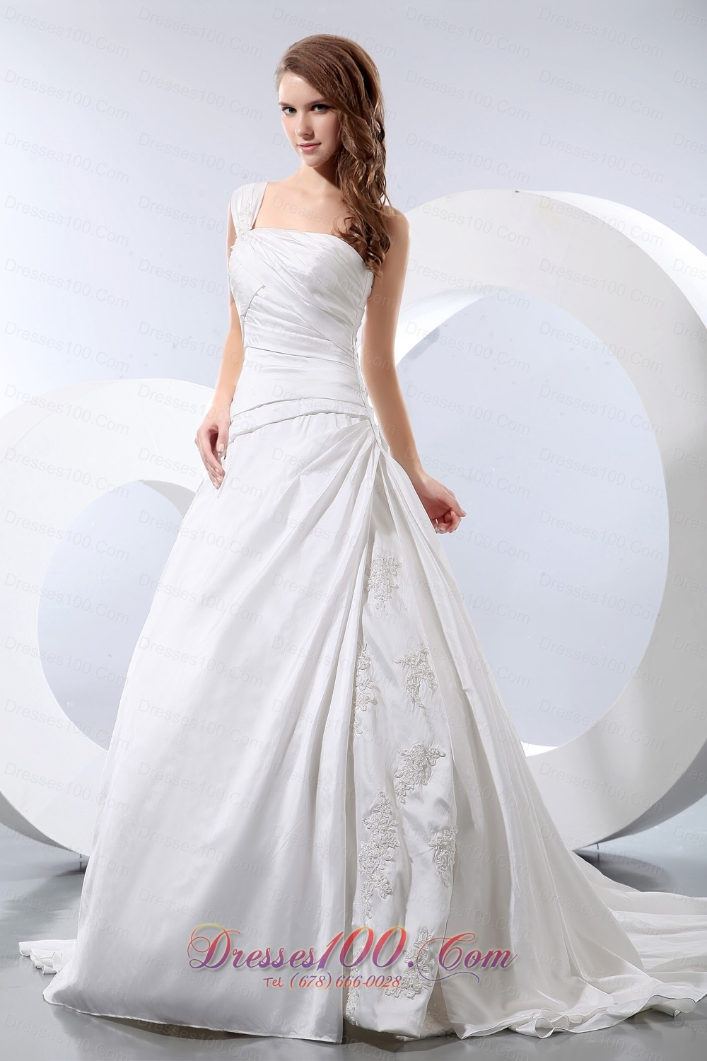 Luxurious a line one shoulder low cost wedding dress for Low cost wedding dresses