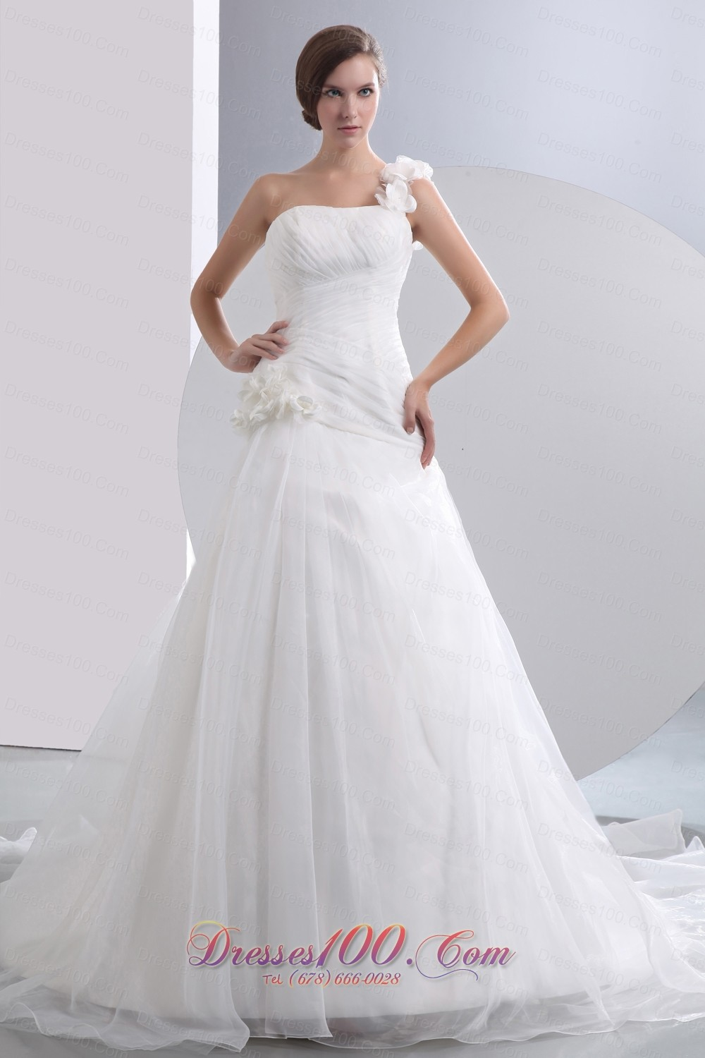 Simple A Line One Shoulder Low Cost Wedding Dress Chapel Train Taffeta And Or