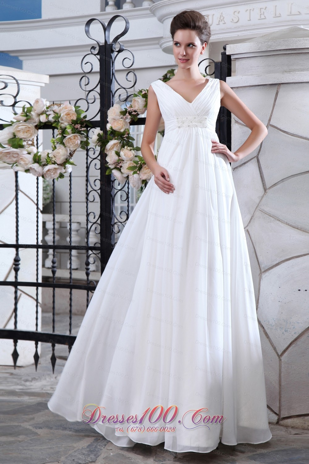 Simple a line v neck maternity wedding dress chiffon ruch for Maternity wedding dresses under 100