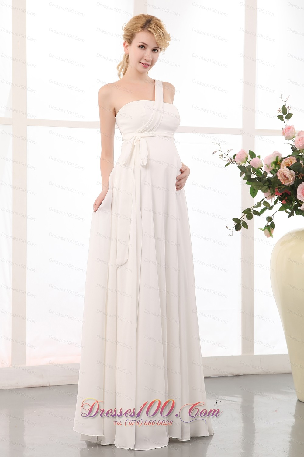 Beauty empire one shoulder maternity wedding dress chiffon for Maternity wedding dresses under 100