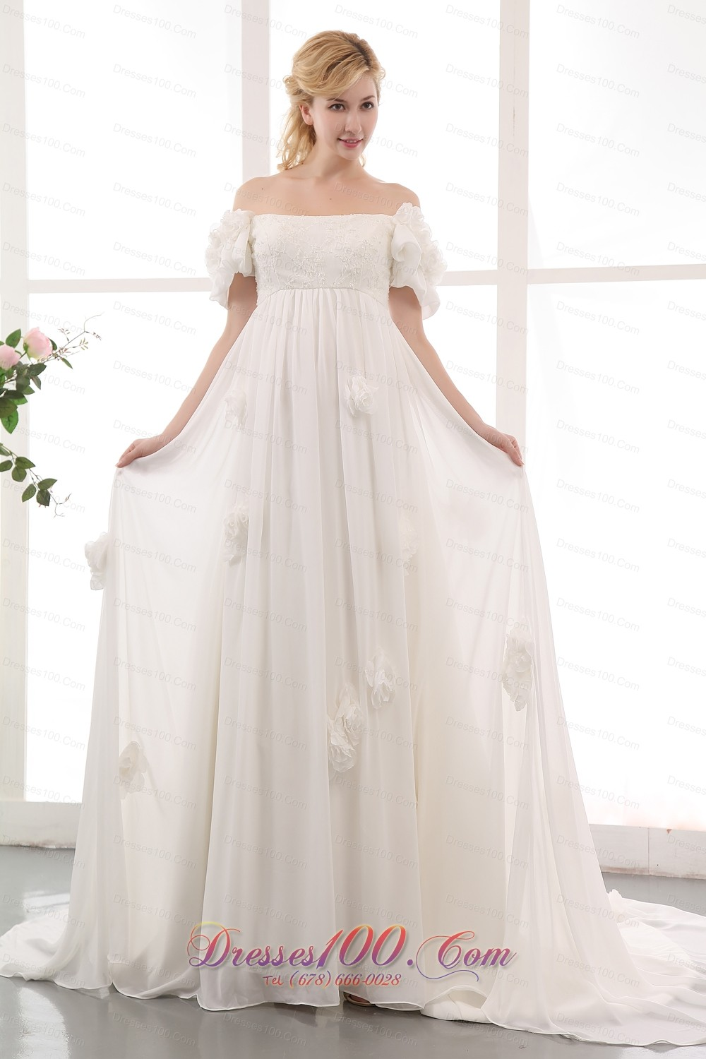 Simple empire off the shoulder maternity wedding dress for Wedding dress made of flowers