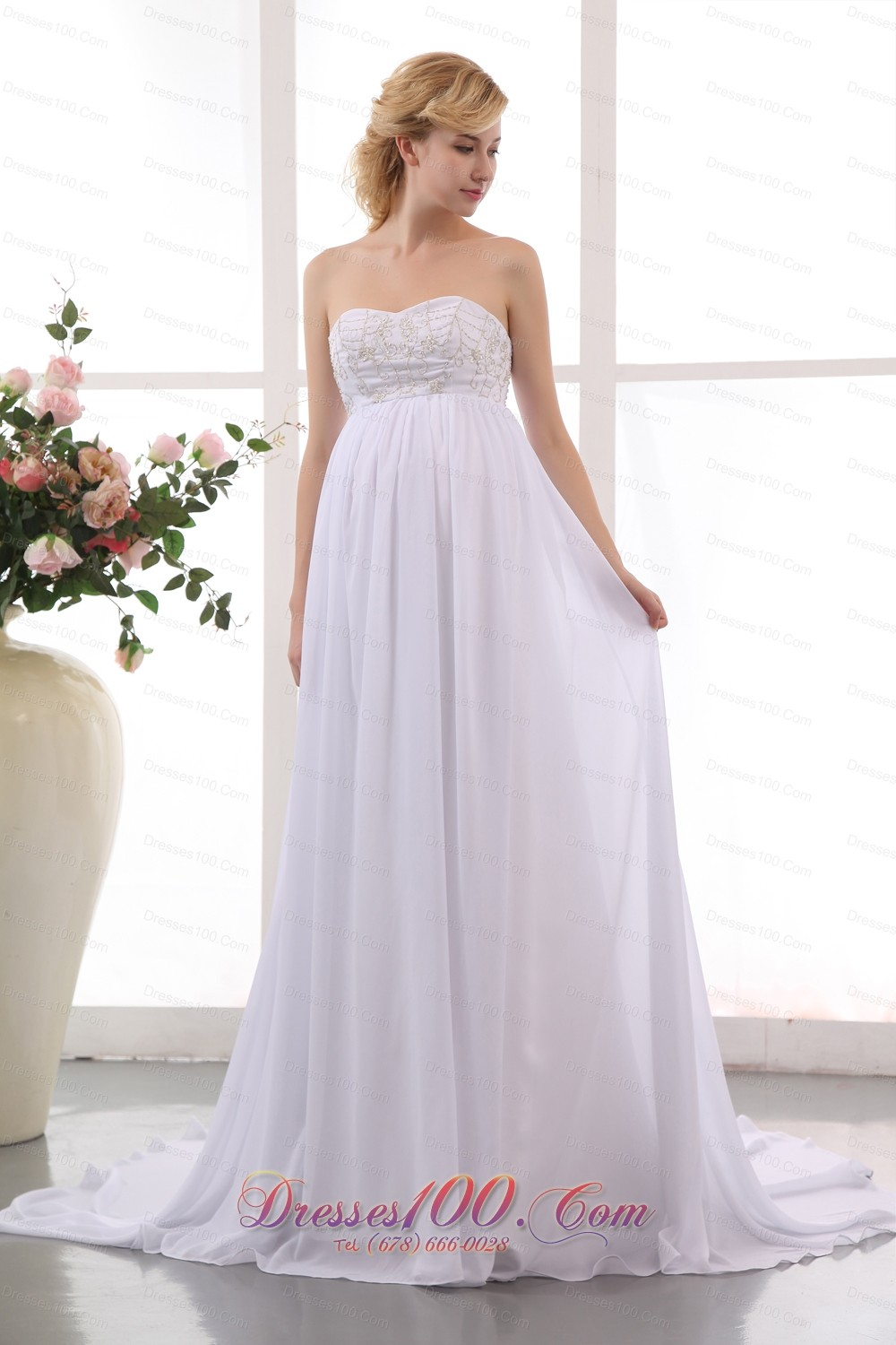 Beautiful empire sweetheart beading maternity wedding for Maternity wedding dresses under 100