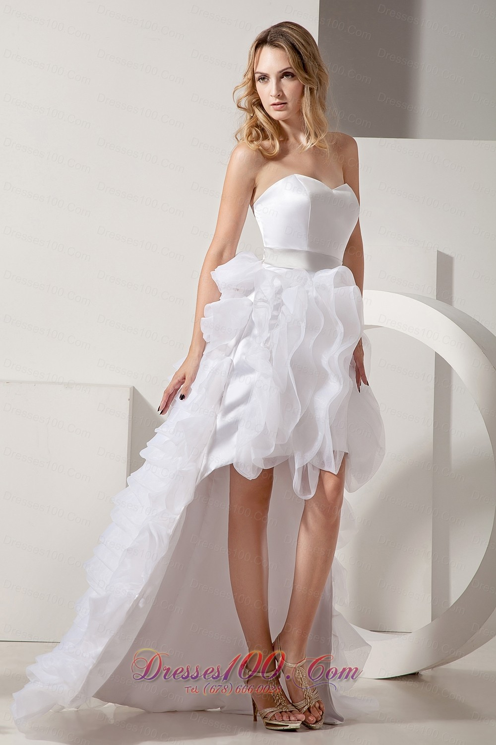 White a line sweetheart high low satin and organza ruffles for Short white wedding dresses under 100