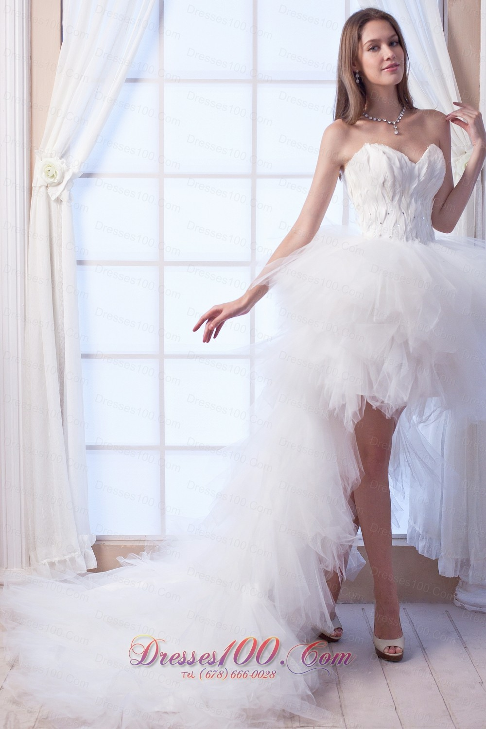 Popular a line sweetheart high low tulle appliques wedding for Tulle high low wedding dress