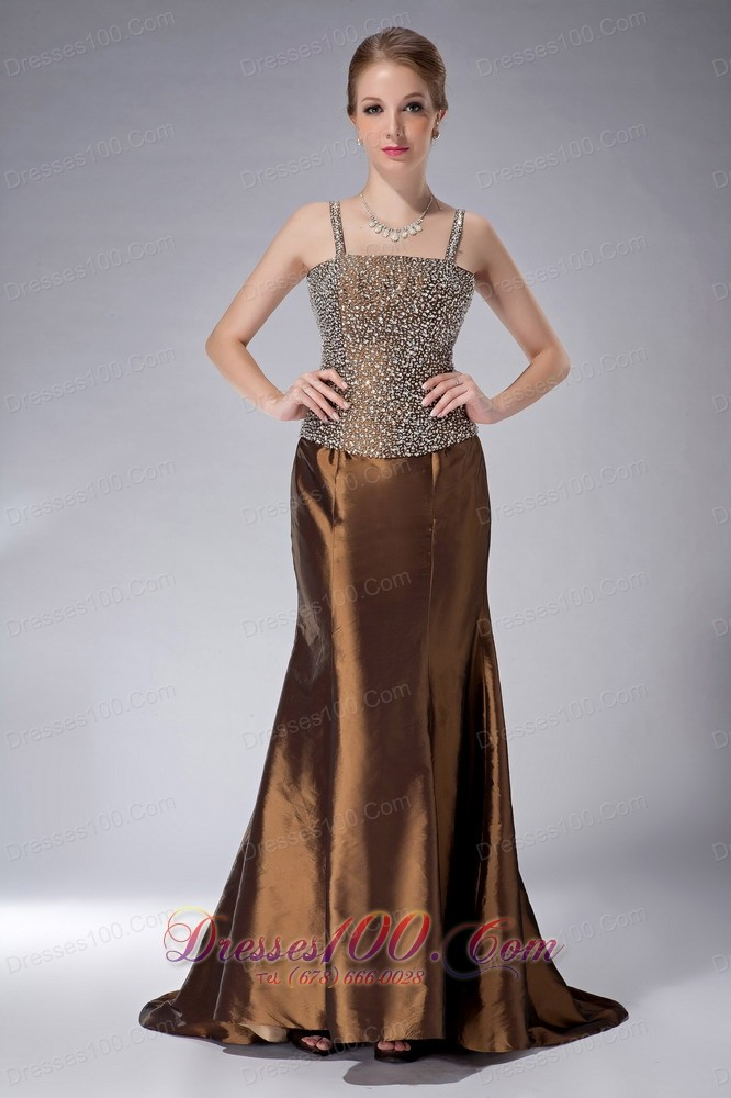 Custom made brown mermaid straps mother of the bride dress for Brown dresses for wedding guest