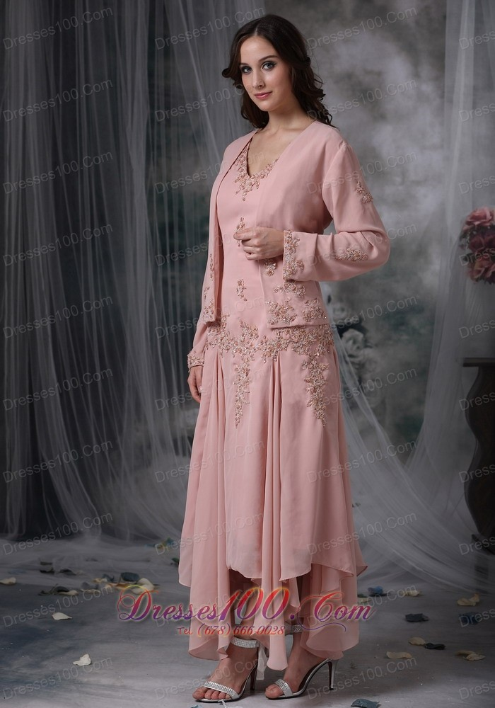 Unique Baby Pink Mother of the Bride Dress Column V-neck Asymmetrical Appliques Chiffon - US$145.29