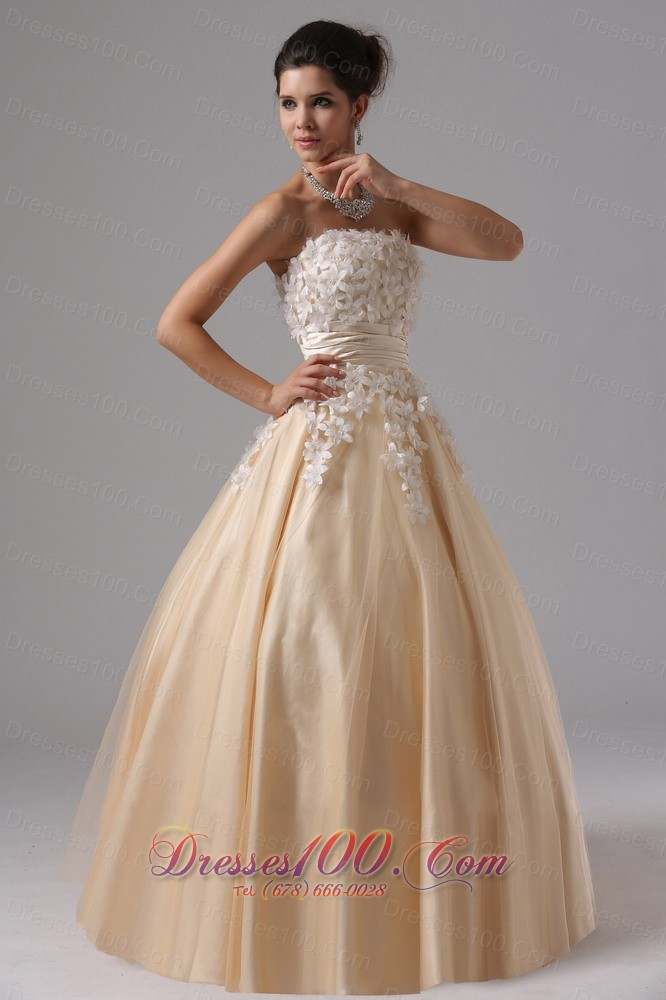 2013 Champagne And Appliques For 2013 Ball Gown Prom Dress