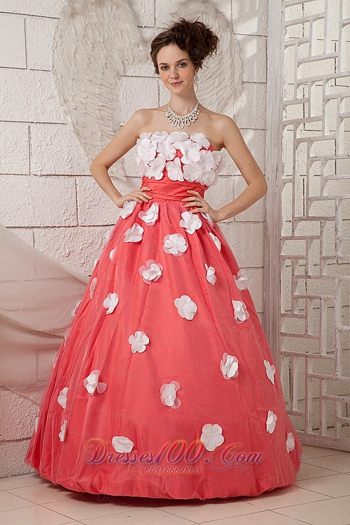 2013 Discount Watermelon A Line Prom Dress Strapless