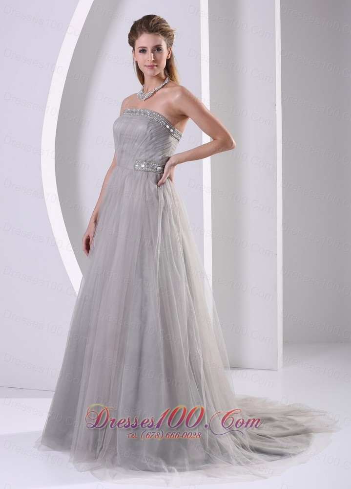 Designer Grey Tulle A-line Strapless Beaded Simple Plus ...
