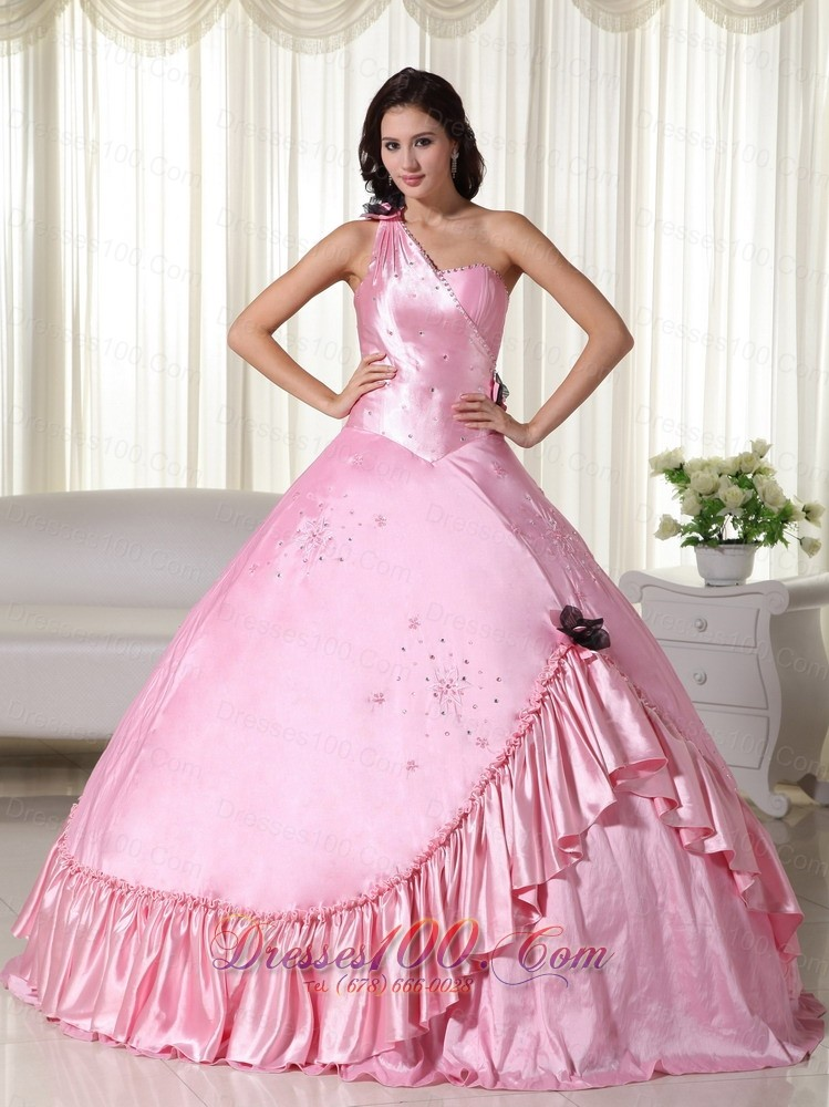 Puffy Baby Pink Ball Gown One Shoulder Floor Length