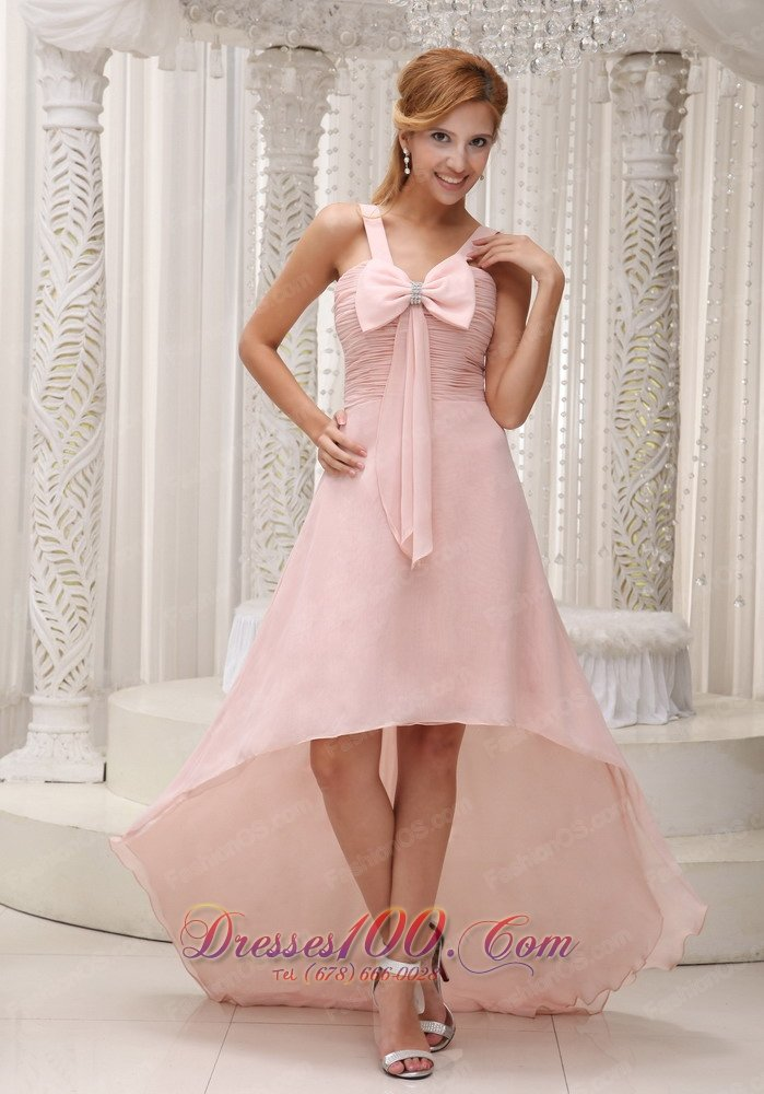 light pink beautiful highlow prom homecoming dress for