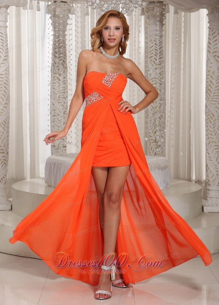 2013 Wholesale High-low Beading Homecoming Dress Orange ...Red High Low Prom Dresses 2013