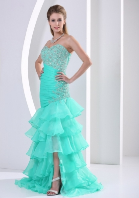 Ruched Layered Beaded Decorate and Ruch Bodice Sweetheart Prom Dress
