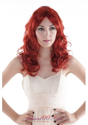 Chic Red Long Top Grade Quality Synthetic Curly Hair Wig