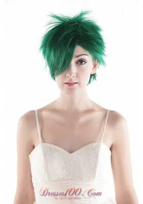 Sexy Green Short Top Grade Quality Synthetic Hair Wig