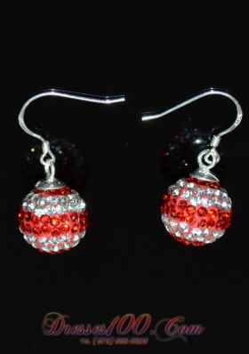 Red and White Rhinestone Luxurious Round  Earrings