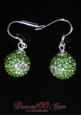 Round Unique Rhinestone Spring Green and White Earrings