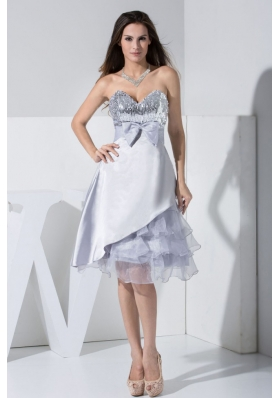 Sequin Bowknot Ruffled Decorate Bodice Sweetheart Neckline Grey Tea-length