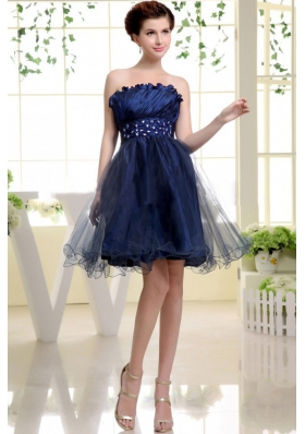 Navy Blue Prom Dress With Beaded Decorate Waist