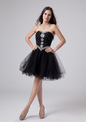 Beaded and Rhinestones Sweetheart Black Prom / Cocktail Dress Mini-length For Club