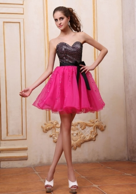 Hot Pink Prom Dress With Sequin and Black Bowknot Mini-length For Party