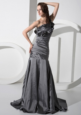 Mermaid Beading One Shoulder Taffeta Brush/Sweep Prom Dress