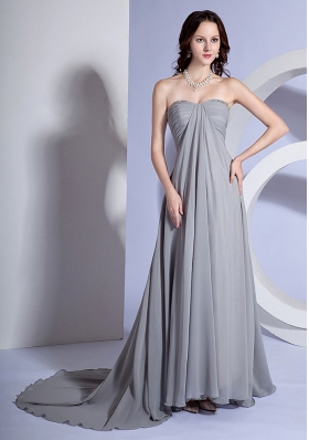 Beading Decorate Bust Sweetheart Neckline Grey Chiffon Brush Train 2013 Prom Dress