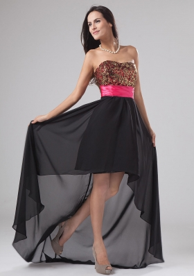 Paillette High-low Chiffon and Sequin Strapless A-Line Prom Dress