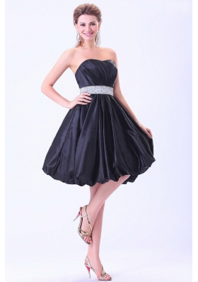 Navy Blue Prom / Cocktail Dress With Beaded Belt Knee-length