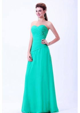 Turquoise Sweetheart Prom Dress With Ruching Chiffon
