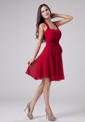 Red Halter Chiffon Knee-length A-Line Prom Dress Party