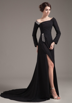 Beading Decorate Bodice High Slit Off The Shoulder Black Chiffon Brush Train Long Sleeves 2013 Mother of the Bride Dress