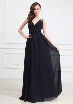 Beaded Decorate Shoulder Chiffon Empire Floor-length V-neck Prom Dress Navy Blue