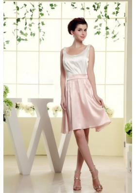 Scoop Bridesmaid Dresses With White and Baby Pink Mini-length
