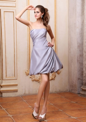 Grey Prom / Cocktail Dress Strapless Mini-length Taffeta